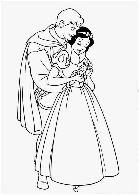 desenho  Branca de Neve com Principe para pintar