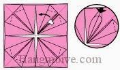 Bước 10: Từ mũi tên trắng, mở lớp giấy ra, kéo và gấp lớp giấy xuống dưới. Lần lượt làm tương tự các góc giấy còn lại.