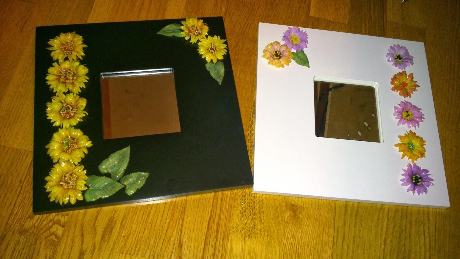 Las manualidades de carmen espejos decorados con flores for Espejos ovalados decorados