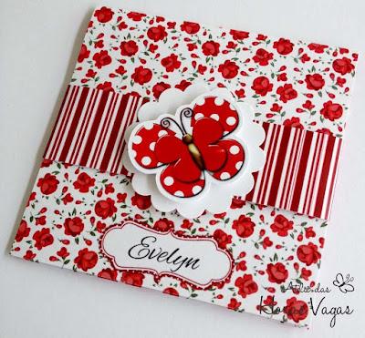 convite artesanal aniversário chá de bebê infantil jardim encantado borboletas vermelho e branco