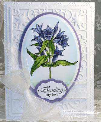 North Coast Creations Stamp sets: Floral Sentiments 8, Our Daily Bread Designs Custom Dies: Flourished Star Pattern, Antique Labels and Border