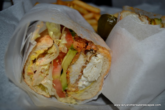 soft shell crab po' boy at Claw BBQ