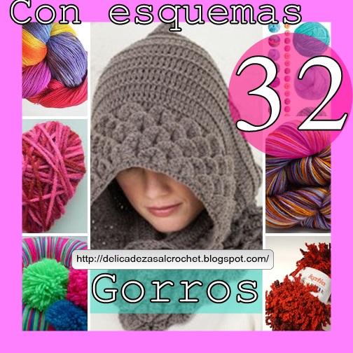 Delicadezas En Crochet Gabriela: 32 Gorros Para Toda La