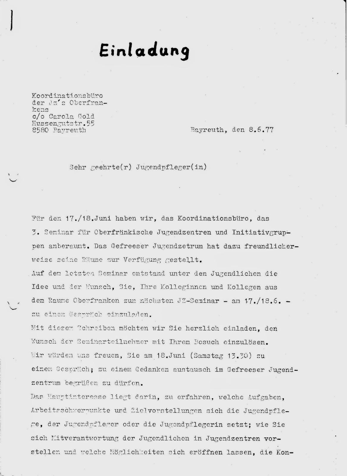 offenes jugendzentrum bayreuth 1974-82 (revival party zum 40, Einladung