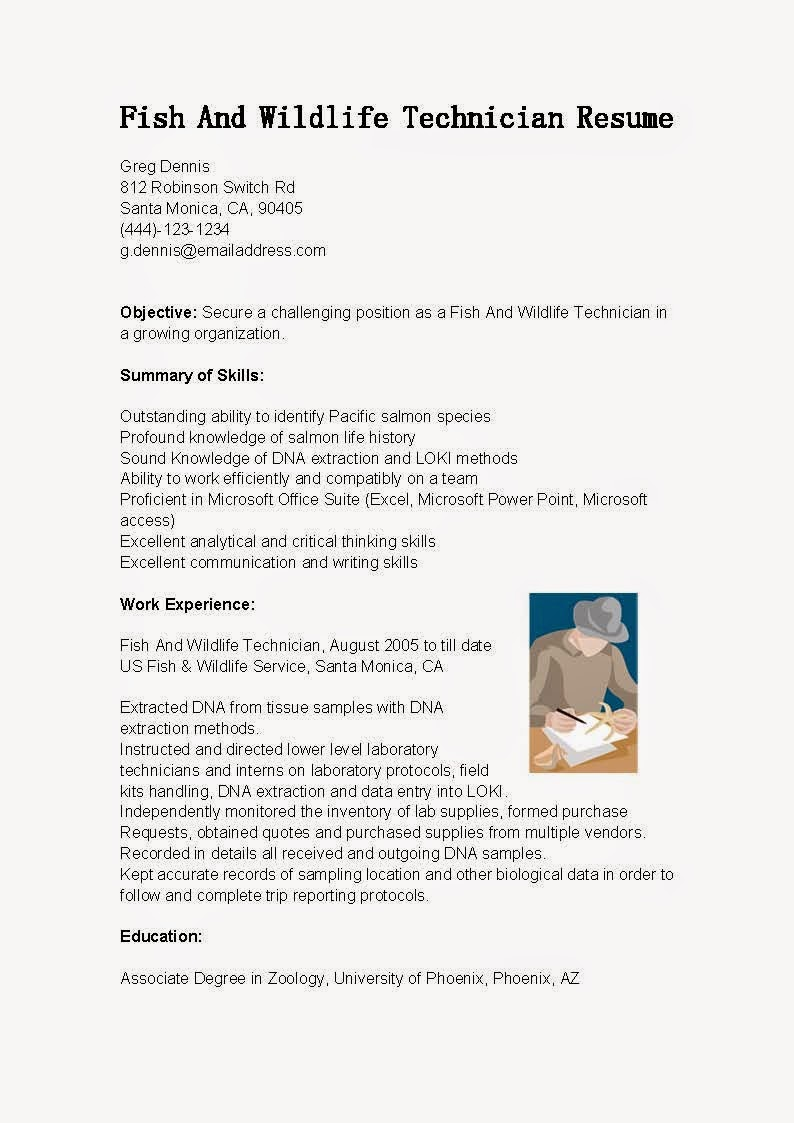resume sles fish and wildlife technician resume sle