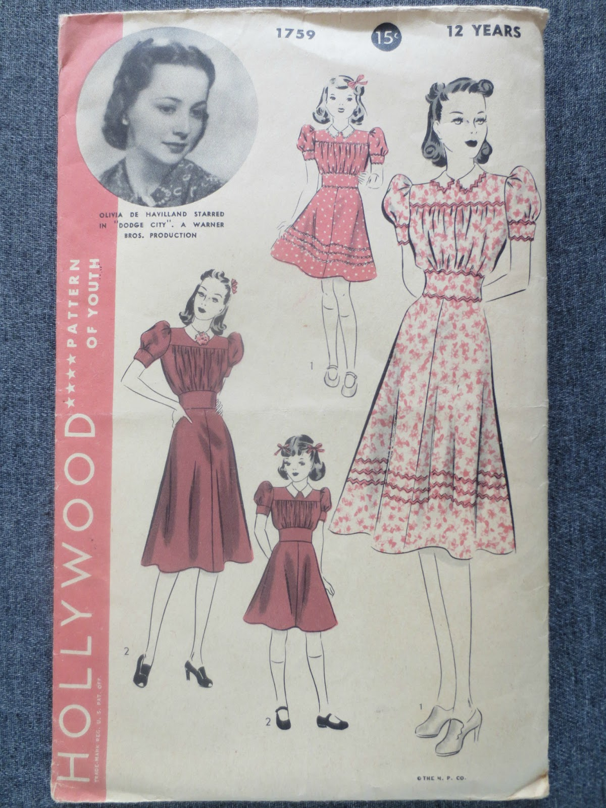 Hollywood Pattern 1759 Olivia deHavilland Brentwood Lane