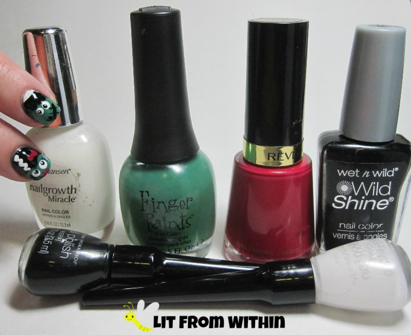 Bottle shot:  Sally Hansen White Tip mixed with Revlon Spirit, Finger Paints Go Van Gogh!, Revlon Cherries In The Snow, Wet 'n Wild Black Creme, and stripers in black and white