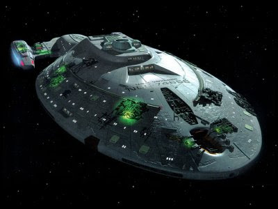 The Voyager ship, with Borg alterations