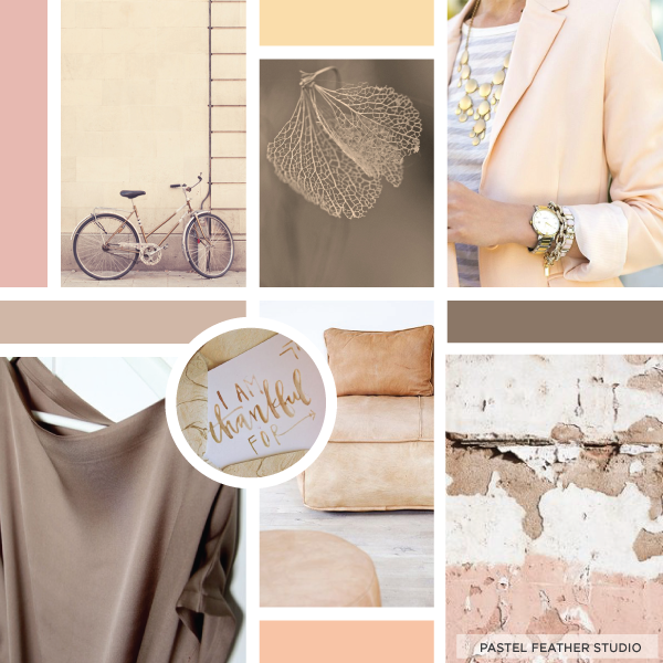 pastel feather studio, moodboard, brown, beige, pink, design, neutral, pastel, soft, yellow