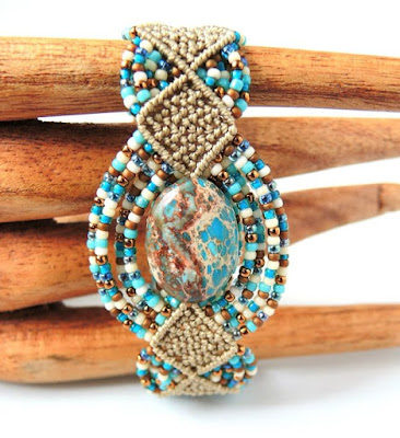 Woven Diamonds micro macrame bracelet with aqua terra stone by Sherri Stokey.