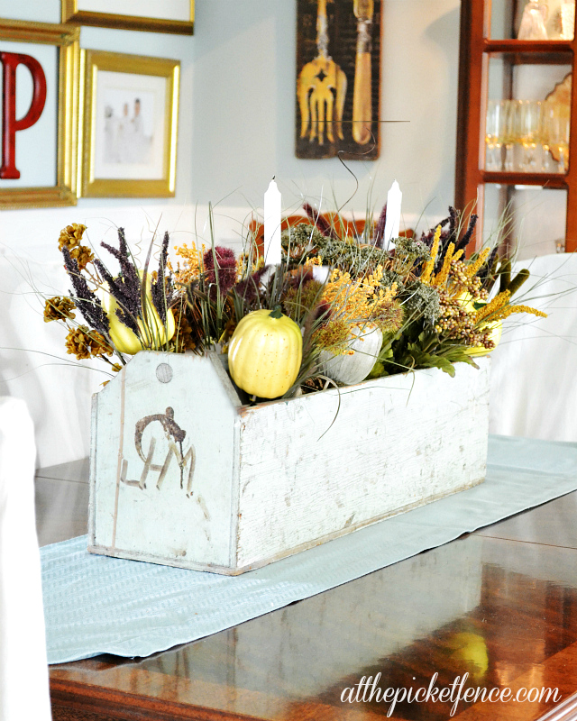 Vintage tool box turned frugal fall centerpiece at the