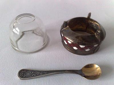 Russian Melhior/Soviet Era Enamel & Silver Alloy Salt, Spoon marked UMMET