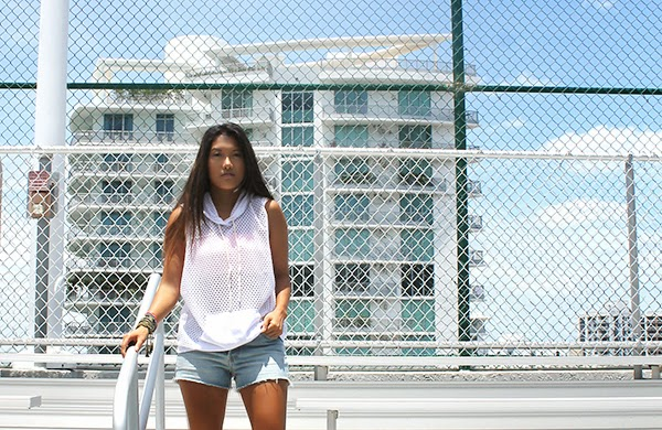 miami fashion blogger, fashion blogger, sporty trend, fashion 2014, summer fashion 2014, mesh top, atikshop, brickell shopping, miami shopping, fashion expert, hm, rose gonzales, bracelets, jewelry, denim shorts, denim trends 2014, denim, nike shoes, nike sneakers, nike, bandeau, urban outfitters, style by lynsee, blogger, outfit of the day, summer outfit, what to wear during summer, what to wear with denim shorts