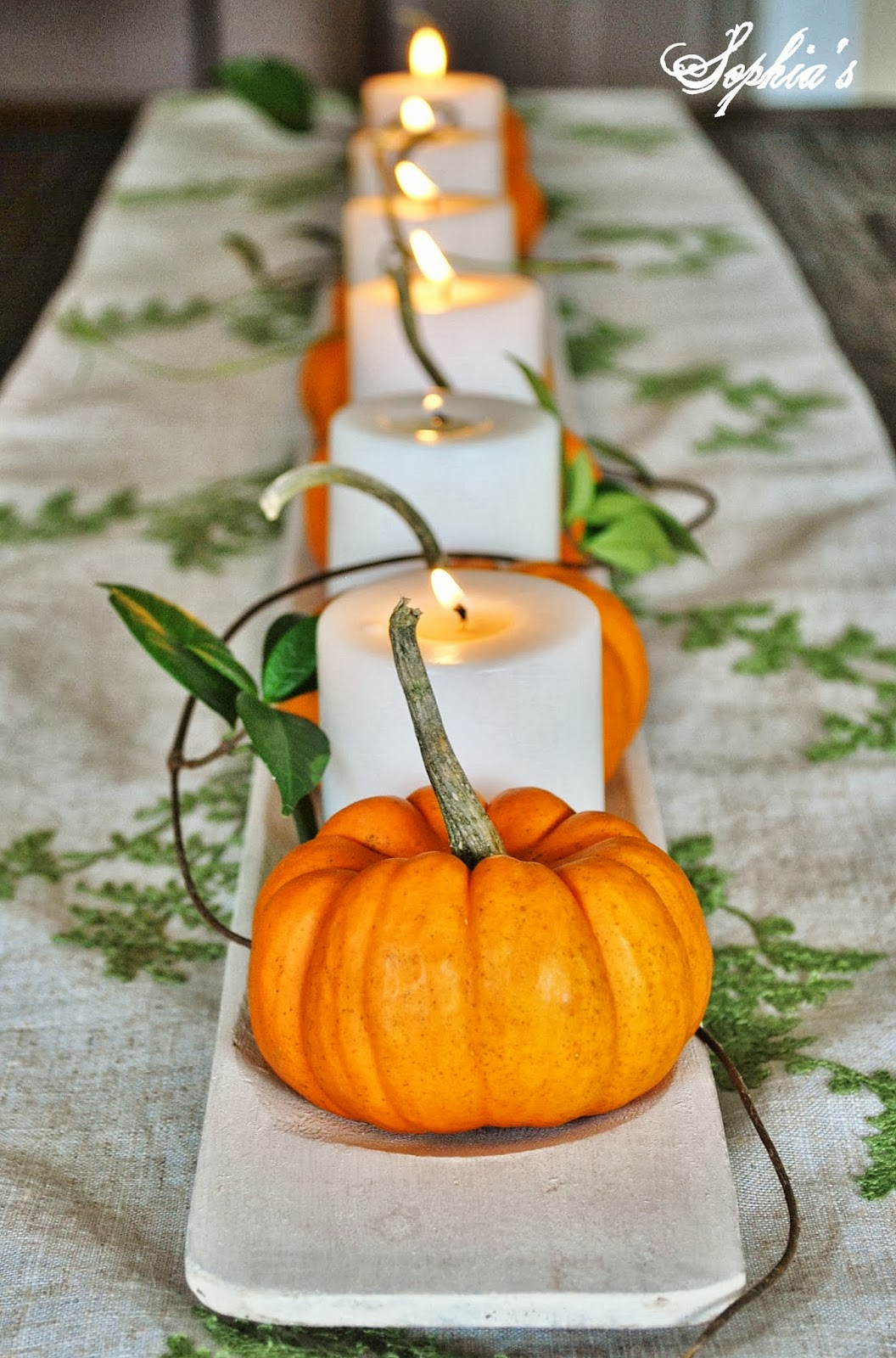 Sophia 39 s fall in the dining room 5 easy fall centerpieces for Simple pumpkin centerpieces