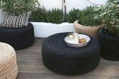 Decorar terraza con neumáticos