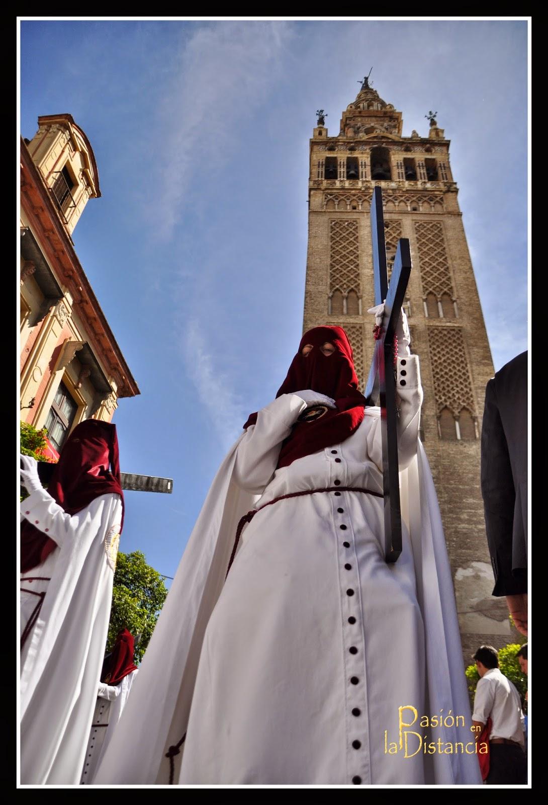 Nazarenos Cristo del Desamparo y Abandono hacia Alemanes Sevilla 2015