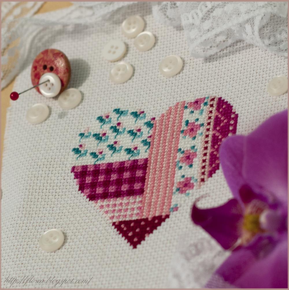 UB Design 864, вышивка сердечко, вышивка в стиле печворк, вышитое сердце, сердце в цветочек