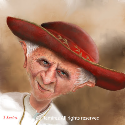 Ratzinger papa ipad benedicto illustration caricature
