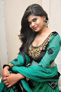Actress Alekhya Latest Picture Gallery in Green Long Dress 049