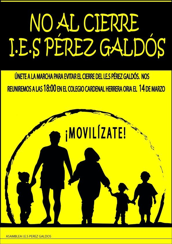 """14 marzo marcha No al Cierre del IES """"Pérez Galdós"""""""