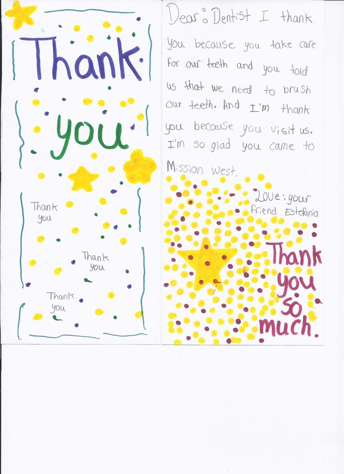 Cc dental thank you note from a student dr teresa cody spoke at mission west elementary schools career day last month about being a dentist and several of the students wrote beautiful thank you expocarfo