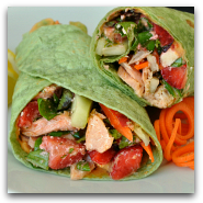 Strawberry Fields Salmon Salad Wraps with Feta Dressing