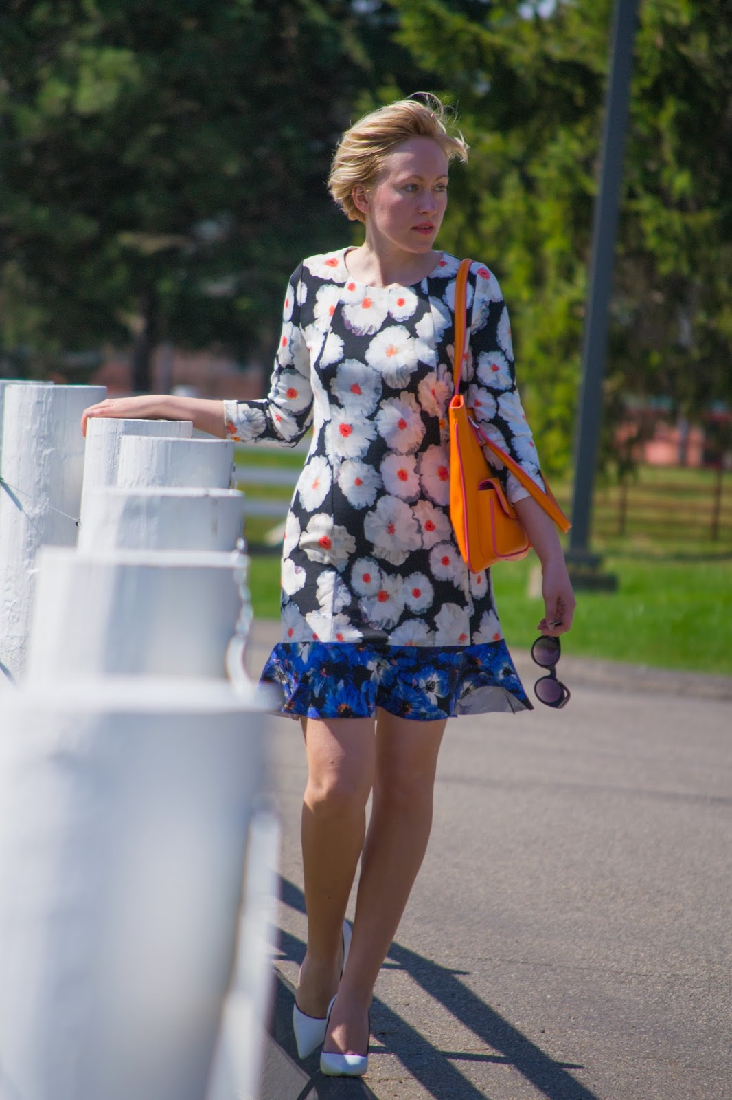 floral dress with white pumps
