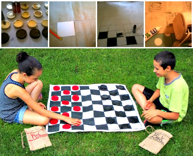DIY XL Checkerboard & Checkers Game - Super-Size Fun Outside on the Lawn or Inside!  One Savvy Mom onesavvymom blog Walmart Family Mobile #Save4Summer