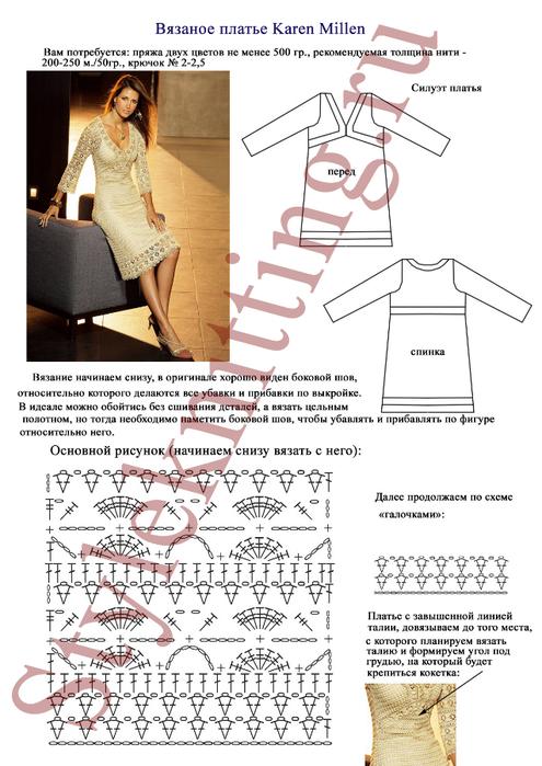 Платье вязанное крючком с описание