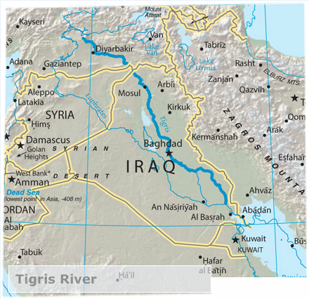 The ancient Mesopotamia area between the Tigris and Euphrates rivers ...