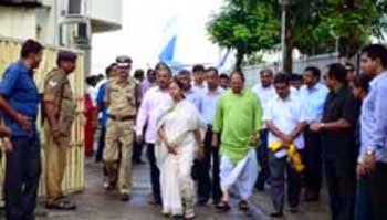 Chief Minister Mamata Banerjee at the Bagdogra airport
