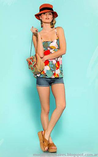 Tops, musculosas y shorts Sophya moda verano 2014.