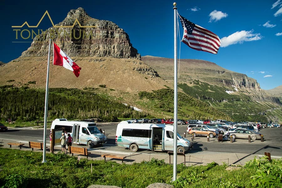 logan pass parking lot glacier national park