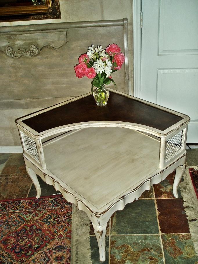 Vintage Antique White Corner Table - Faux Painting + Furniture: SOLD!!... Vintage Antique White Corner Table