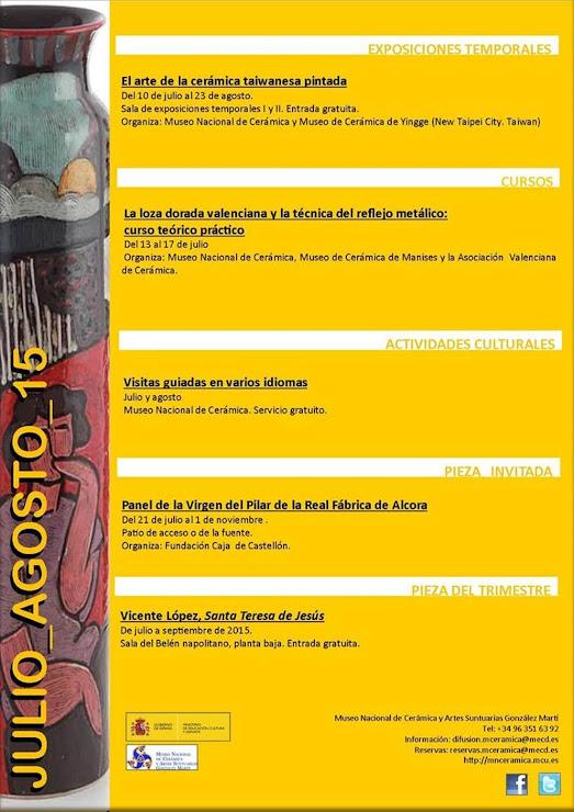 PROGRAMACIÓN DE JULIO - AGOSTO DE 2015 DEL MUSEO NACIONAL DE CERÁMICA