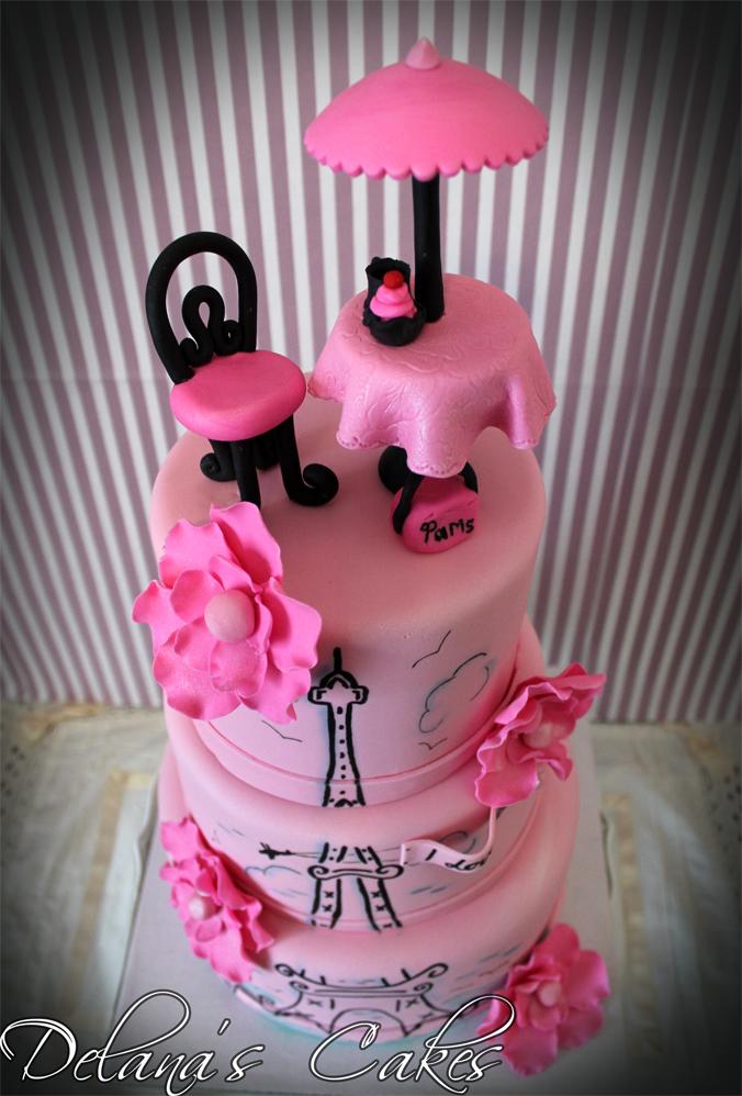 Delanas Cakes Paris Themed Birthday Cake