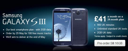cheapest samsung galaxy s iii contract free price in uk