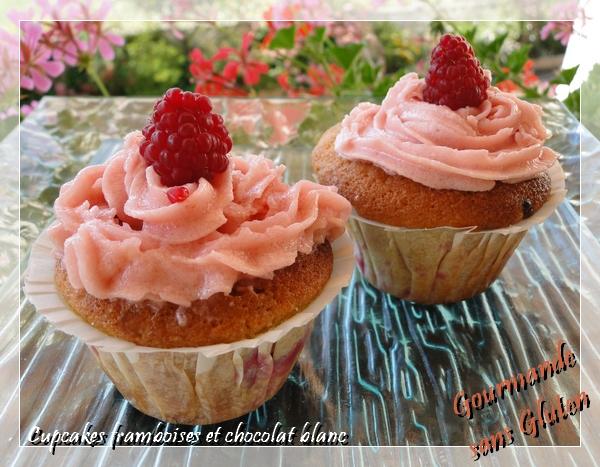 Cupcakes framboises chocolat blanc sans gluten