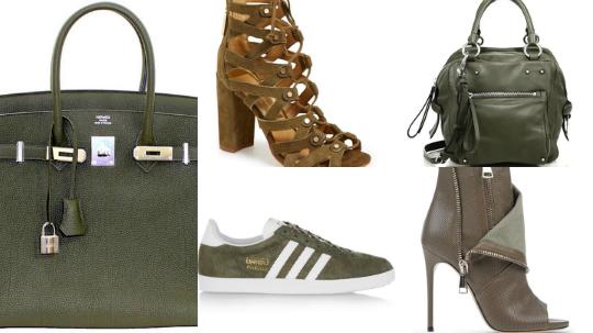 bolsas e sapatos verde militar