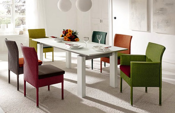 Urban chic design dining chairs home furniture casino by accent home decorating ideas - Colorful dining room tables ...