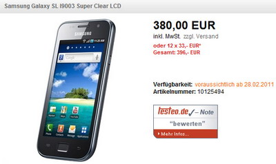 Samsung I9003 Galaxy SL available in Germany, India