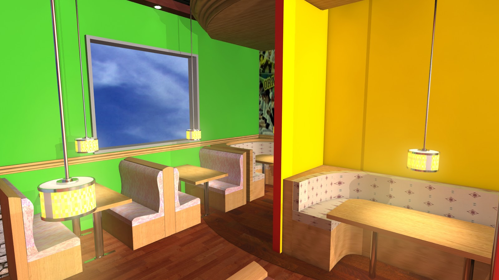 Sajid designs 3d interior design applebees qatar for Interior design qatar