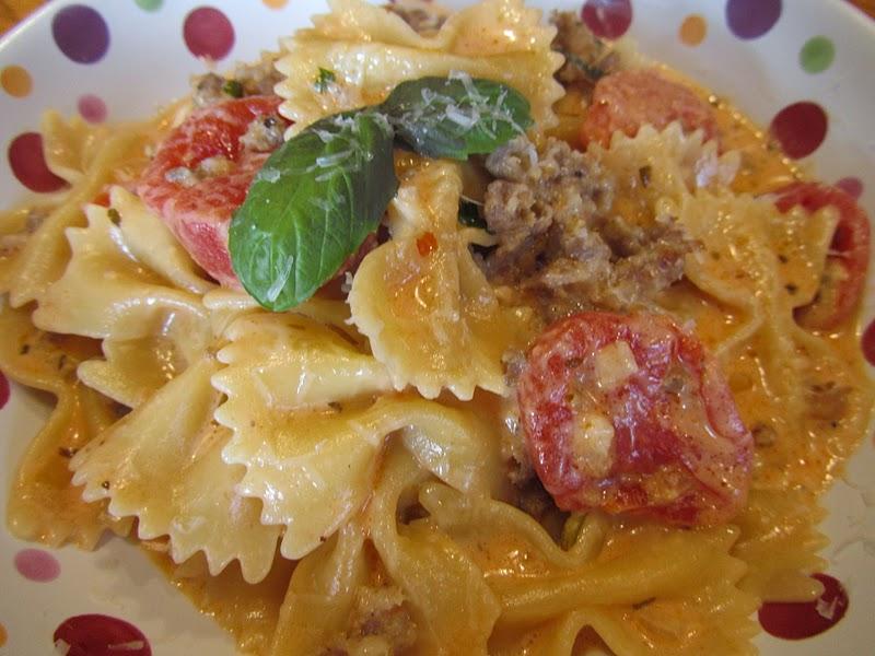 Hospitality at heart bow tie pasta italian sausage in cream sauce