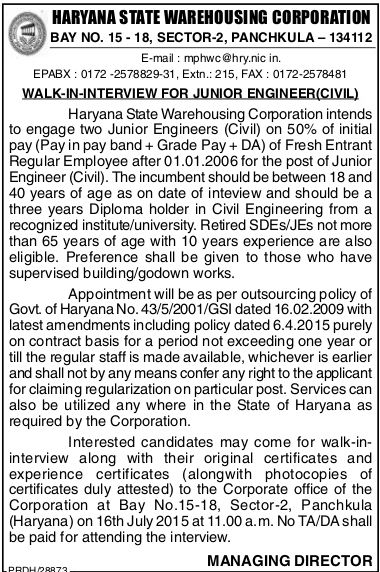 Junior Civil Engineer vacancy in HWC Panchkula