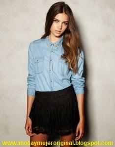 camisa vaquera con falda
