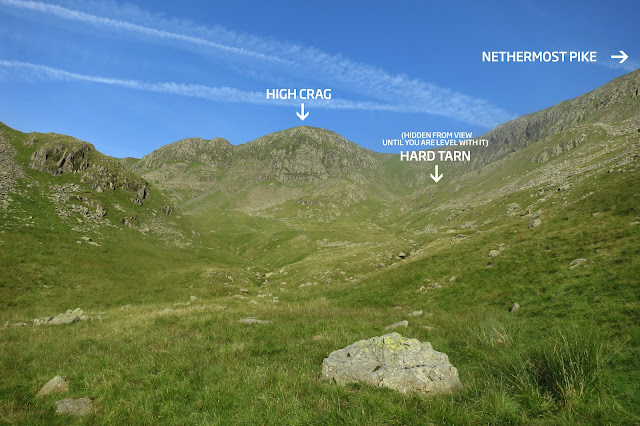 location of Hard Tarn using the surrounding mountain range as the guide