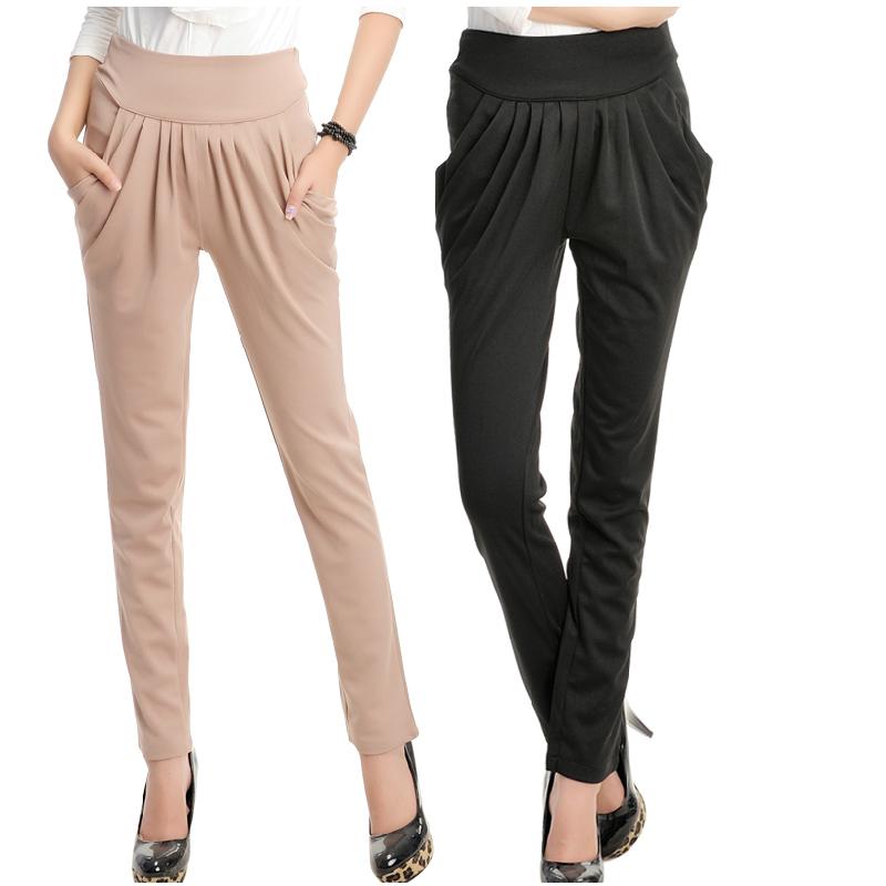 Simple Women39s Harem Pants Large Pocket Denim Pants Black Hiphop Pants