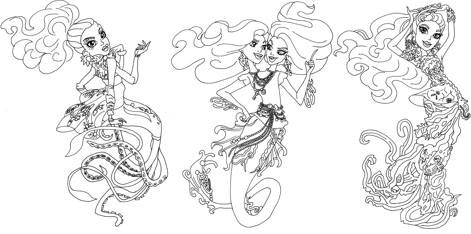 great scarrier reef monster high coloring page - Monster High Color Pages Free