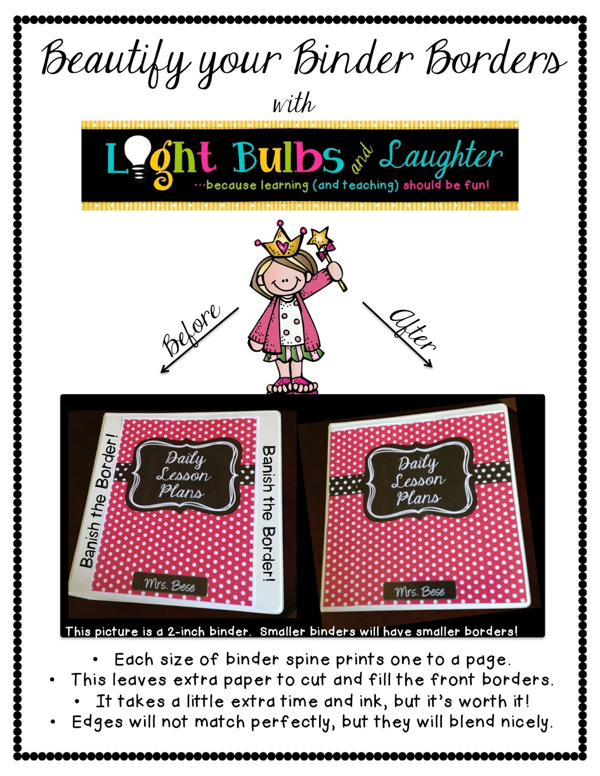 Light Bulbs and Laughter - How to Make Your Binders Beautiful, For Free