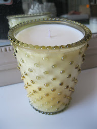 """Blood Orange Amber"" Hobnail Glass Candle"